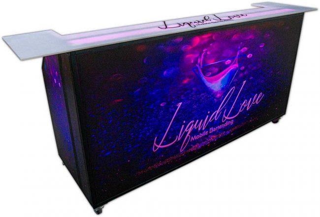 Portable Bar 77 w/ Wrap Top & Black Frame