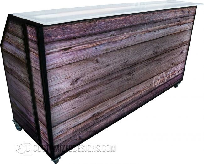 Portable Bar with Rustic Wood Branding