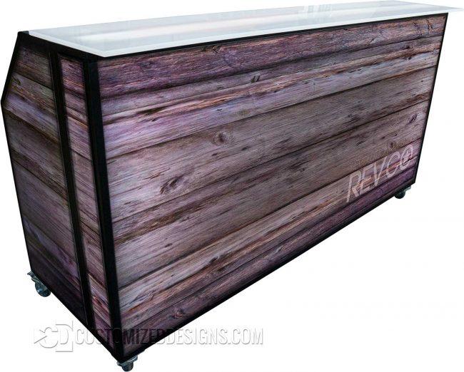 77 Portable Bar w/ Backlit Wood Panels & Black Frame