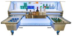 "62"" Portable Bar w/ Two Under Bar Storage Shelves"