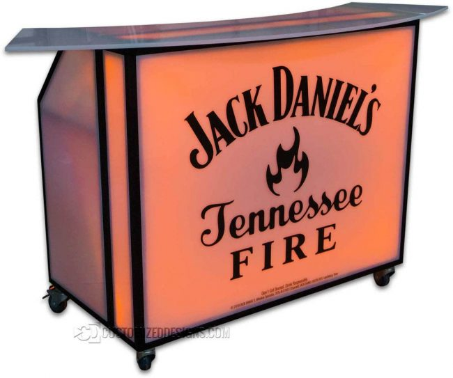 48 Portable Bar w/ Jack Daniels Fire Logo & Black Frame