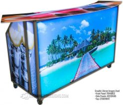 Portable Bar w/ Beach Theme Graphics