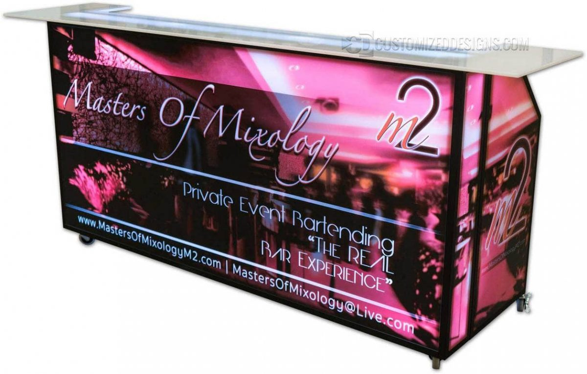 77 Portable Bar w/ BLack Frame & Wrap Top