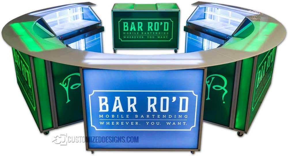 Circular Portable Bar w/ Mobile Back Bar