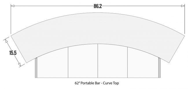 "Curve Bar top for 62"" Portable Bar"