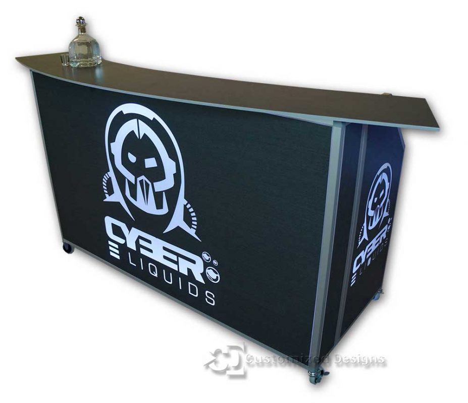 62 Portable Bar w/ Cyber Liquids Vape Branding & Sable Finish Side Panels & Bar Top