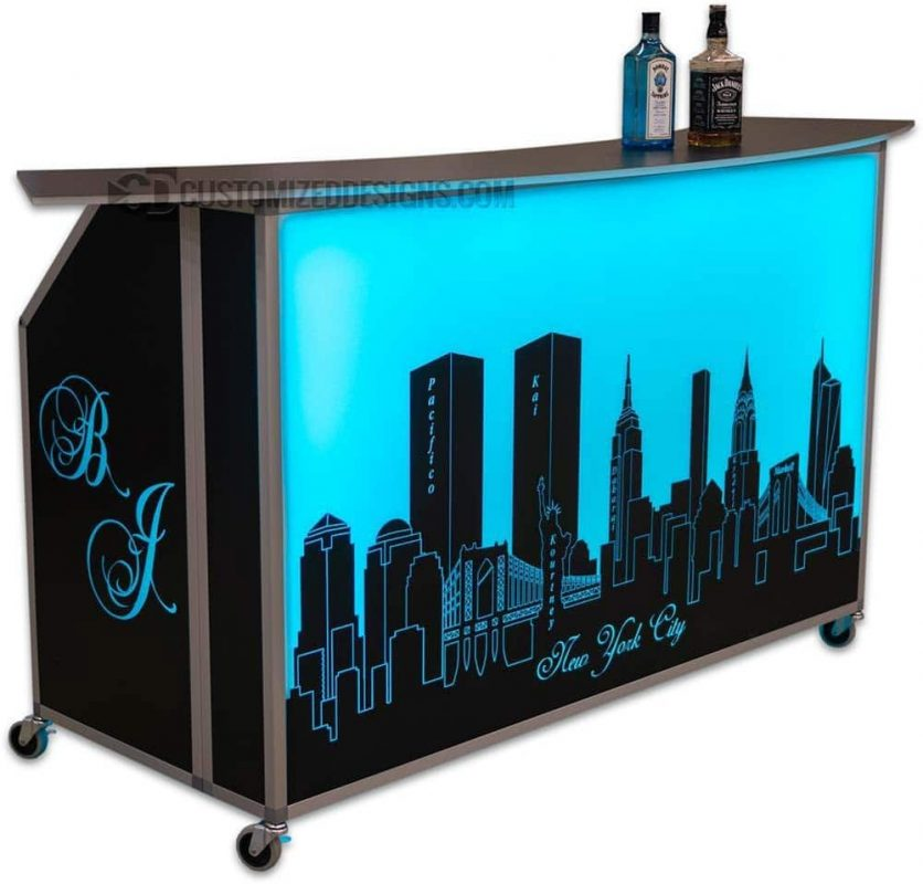 Portable Bar w/ New York Skyline Graphic
