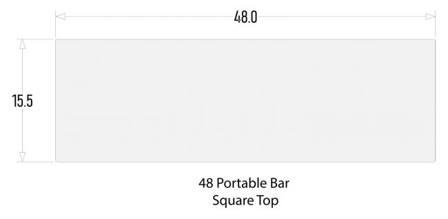 "Square Bar Top for 48"" Mobile Bars"